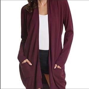 🌼Cozy Open Front Maroon Long Sweater with Pockets